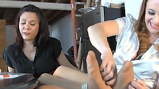 Audrey, the Ticklish Reader in Nylons 2