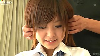 Shy and modest Japanese student Miku Airi is seduced for sex