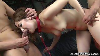 Captive Asian babe Aiko Nagai has bondage threesome with per