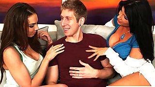 Naughty babe Romi Rain share a big cock with a lesbian