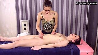 Virgin hot girl Sasha Mamaeva gets her first massage