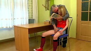 Mature teacher is subduing young babes beaver