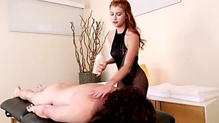 Sexy masseuse Arya Fae gives erotic massage