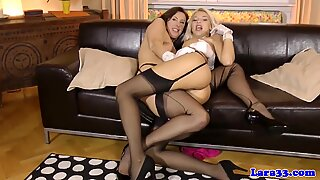 British milf pussylicked by uk stockings babe