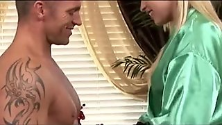 Tall blonde Alyssa Branch blowjob massage