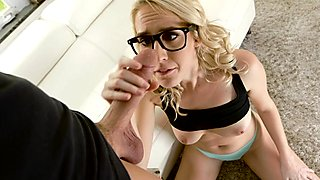 Kinky nerdy blonde Cadence Lux facialized after a hard fuck