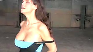 Tall curvalicious beauty gets her blowjob skills tested in the dungeon