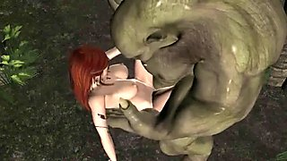 Huge orc fucks a sexy petite red head elf in the woods