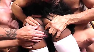 One cum drinking ebony slut and five white dicks