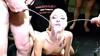 Blonde riding dick and gets pissing