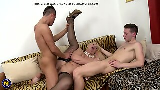 Dirty mature mother fucks two young sons