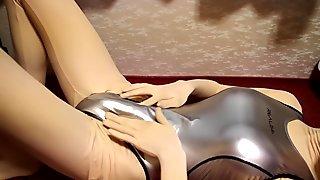 kigurumi with metallic silver swimsuit