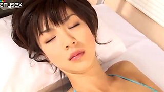 Teen cutie Aki Hoshino dresses like an angel and seduces you in her bedroom