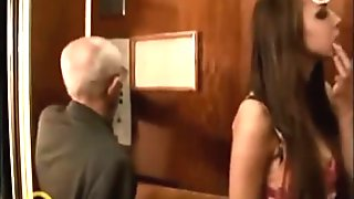 Tall Brunette Stripping In An Elevator
