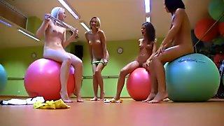 4 hot girls do aerobics together and dildo fuck
