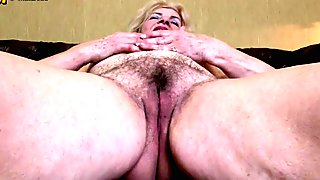 Dirty grandma with hairy cunt