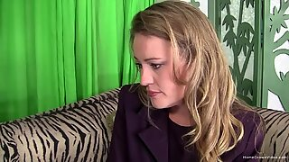 Shy blonde cheats on her husband at an interview