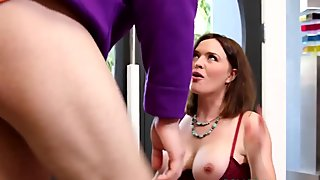 Busty milf Krissy Lynn cocksucks and tugs