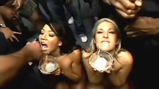 Girls drink cum from 50 guys