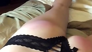 Horny slut gets spanked, total submission to master