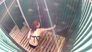 BUSTY GIRL Wearing Swimsuit in Pool Cabin