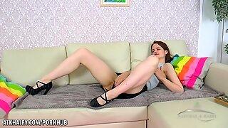 Petite hairy Russian loves her dildo