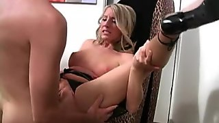 Hot blonde Barbie Cummings takes a creampie