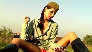 Army Chick In The Fields - Pleasure Photorama