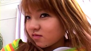 Stupid Japanese teen Haruka Apachi enjoying cunnilingus