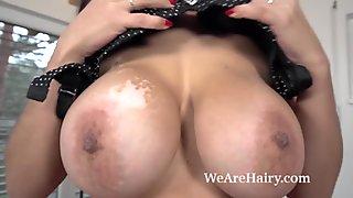 Mischel Lee masturbates with her glass dildo