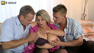 Two lucky sons banging not their mom