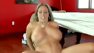 cum thirsty Amber Lynn Bach receives a reward of cum after a nice hot round