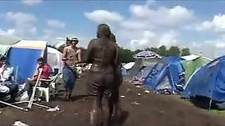 Danish tits covered in mud at the Roskide Festival