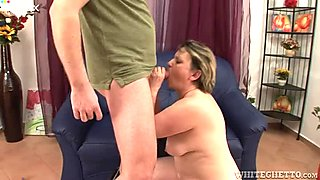 Disgusting fat and pale old bitch demonstrates her dick riding skills
