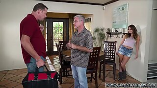 Cumshot in front of and grandma young Charlotte Cross gets the plumber to tidy her pipes