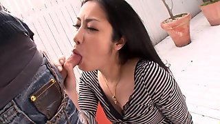 Sucking cock and getting creamed turns this whore on