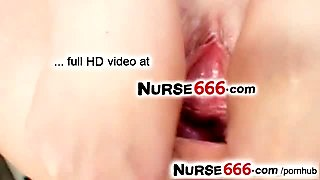 Blonde nurse slut Gabriela opens her cunt with fingers