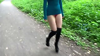 LITTLEANDCUTE - Thigh High Boots Short Dress No Bra