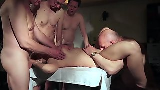 OLD YOUNG Babe Gangbang with grandpas double fuck