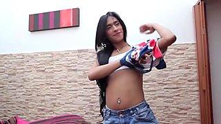 Latina tranny massages her cock