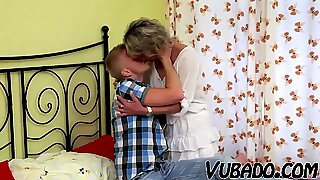 YOUNG boy pulverizes MATURE woman IN BEDROOM !!