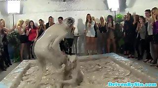 Classy euro hotties watch mud wrestling match