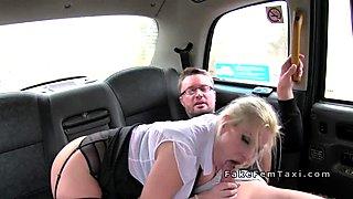 Female cab driver got big tits banged