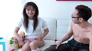 Giggling slut Ami Matsuda sucks a dildo like a real cock