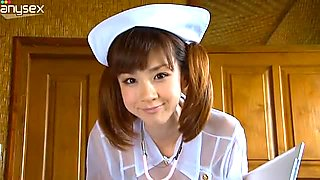 Petite Japanese nurse Aki Hoshino seductively poses on cam