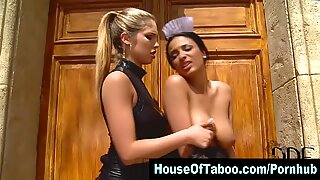 g/g domme toys strapped maids ass outdoors and tweaks her nipples