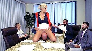 Nina Elle sitting her pussy down on Sean Lawless