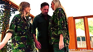 Army babes Lexi Lowe and Stella Cox get a double helping of dick
