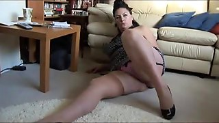 Curvy busty mature lady with big hairy bush strips and teases