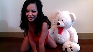 Sexy Brunette Playing Teddy Bear on Webcam